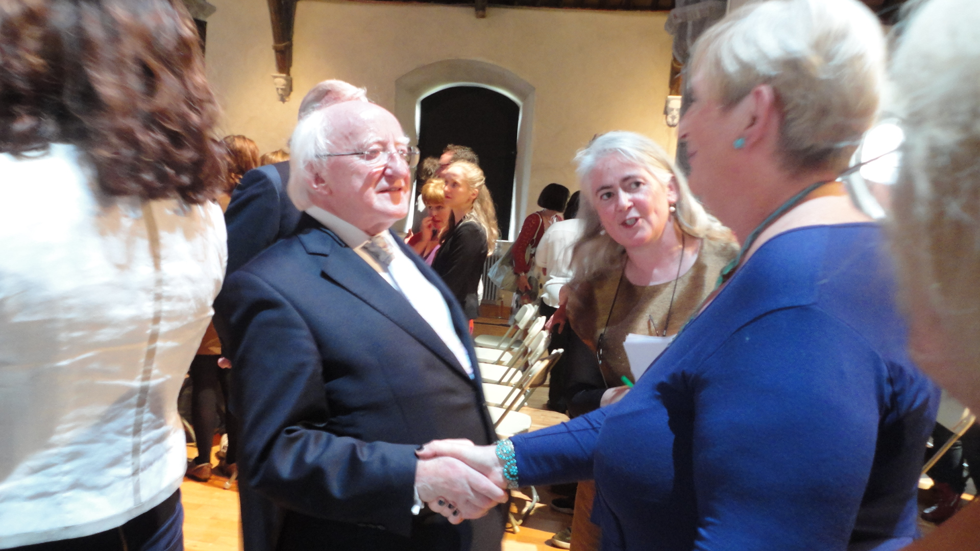 President Michael D. Higgins, Sheila Deegan, Limerick City and County Arts Officer and  Noreen O'Driscoll, Chairperson, Voices of Limerick at the celebration of made in Limerick Project 29 September  2014